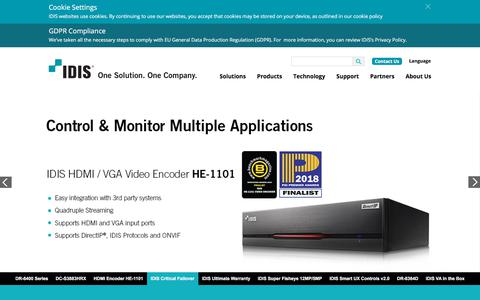 Screenshot of Home Page idisglobal.com - IDIS One Solution, One Company - captured July 26, 2018