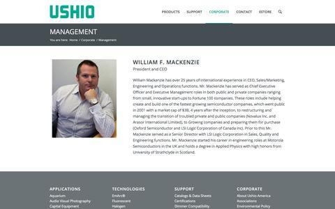 Screenshot of Team Page ushio.com - Management | Ushio America, Inc. - captured Sept. 29, 2017