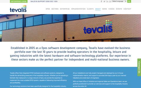 Screenshot of About Page tevalis.com - About us   Industry Leading Epos Solutions   Tevalis - captured Oct. 21, 2017