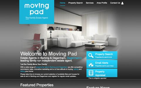 Screenshot of Home Page movingpad.com - Moving Pad Estate Agents in Barking and Dagenham - Property For Sale and Rent - captured Oct. 7, 2014