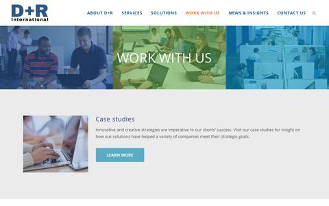 Screenshot of Case Studies Page drintl.com - Work With Us | D+R International - captured Sept. 30, 2018