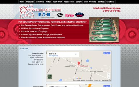 Screenshot of Locations Page capitolbearing.net - Industrial Hoses, Inventory Management   Round Rock, TX   Locations - captured Jan. 25, 2016