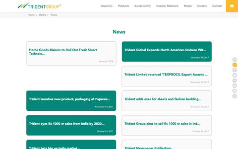 Screenshot of Press Page tridentindia.com - Trident Group - captured Oct. 1, 2018