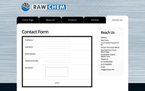 Screenshot of Contact Page rawchem.net - Raw Chem | Contact Us | large volume parenterals, anti cancer formulation, sterile water for injection. | pharmaceutical company. - captured Aug. 12, 2016