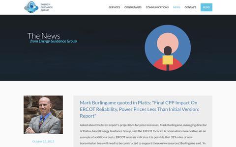 Screenshot of Press Page energyguidancegroup.com - News | Energy Guidance Group - captured Aug. 8, 2017