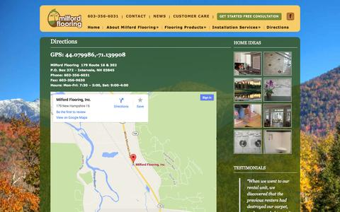 Screenshot of Maps & Directions Page milfordflooring.com - Directions - Milford FlooringMilford Flooring - captured Sept. 30, 2014