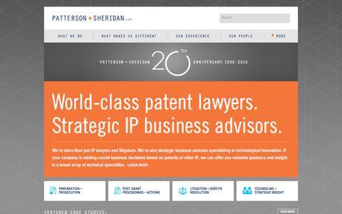Screenshot of Home Page pattersonsheridan.com - Patterson & Sheridan — World-class patent lawyers. Strategic IP business advisors. - captured Jan. 26, 2016