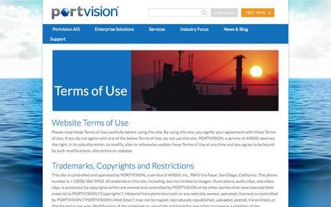 Screenshot of Terms Page portvision.com - Portvision - captured Sept. 30, 2014