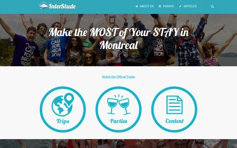 Screenshot of Home Page interstude.com - International People in Montreal | Interstude - captured Sept. 16, 2015