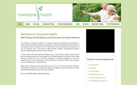 Screenshot of Home Page transcendhealth.com - Registered dietitian nutritionist in Bucks County, PA - captured Aug. 18, 2016