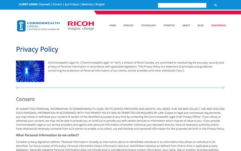Screenshot of Privacy Page commonwealthlegal.com - Privacy Policy | Commonwealth Legal - captured May 20, 2017