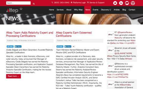 Screenshot of Press Page altep.com - News | Altep, Inc. - captured Nov. 14, 2016