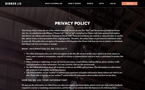 Screenshot of Privacy Page dinnerlab.com - Privacy Policy | Dinner Lab - captured Jan. 16, 2016