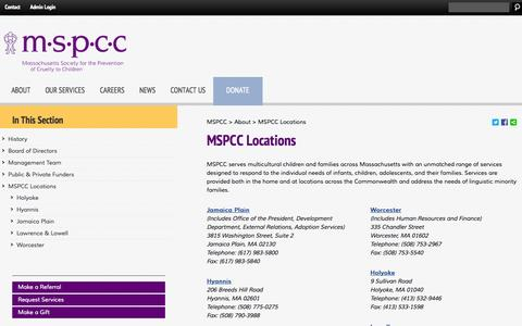 Screenshot of Locations Page mspcc.org - MSPCC Locations | MSPCC - captured Nov. 3, 2014
