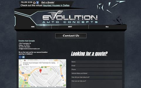 Screenshot of Contact Page Maps & Directions Page evolutionautoconcepts.com - Evolution Auto Concepts | Custom Auto Body Shop | Dallas Fort Worth | CONTACT US - captured May 22, 2017