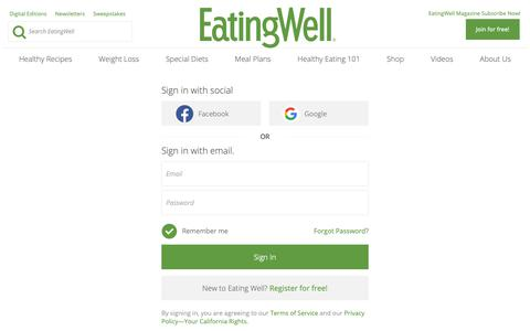 Screenshot of Login Page eatingwell.com - Sign In - EatingWell - captured Dec. 19, 2018