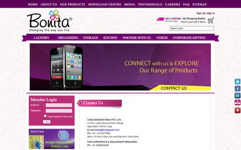 Screenshot of Contact Page bonitaindia.com - Contact Us - Information For Casa Brands : Bonita India - captured July 17, 2017