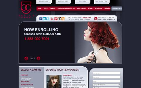 Screenshot of Home Page bellusacademy.edu - Beauty School San Diego - Bellus Academy - captured Sept. 30, 2014