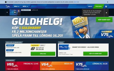 Screenshot of Home Page atg.se - ATG – Spela på trav och galopp - captured Jan. 28, 2016