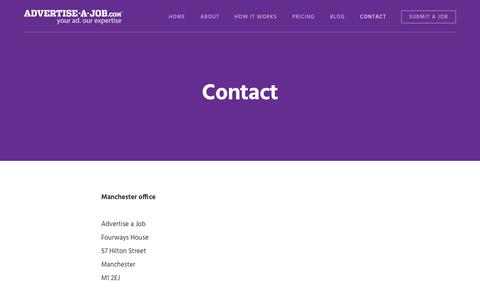 Screenshot of Contact Page advertise-a-job.com - Contact - Advertise a Job - Nationwide online recruitment advertising - captured July 29, 2018