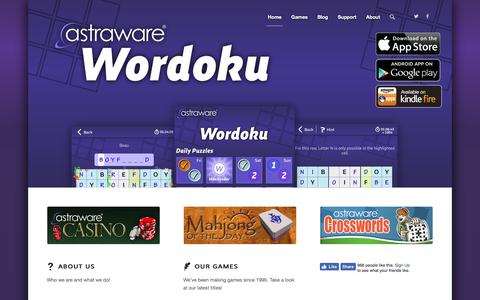 Screenshot of Home Page astraware.com - Astraware   Games for iOS and Android - captured July 26, 2016