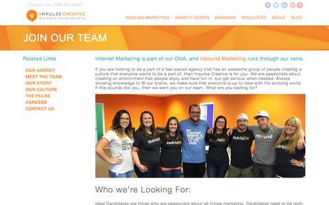 Screenshot of Jobs Page chooseimpulse.com - Inbound Marketing Jobs, Fort Myers Marketing Jobs, Internships - captured Sept. 24, 2014