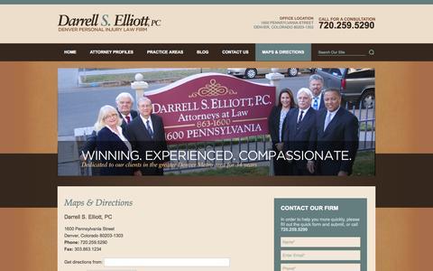 Screenshot of Maps & Directions Page darrellselliott.com - Directions | Denver, Colorado Lawyers | Darrell S. Elliott, PC - captured Oct. 5, 2014