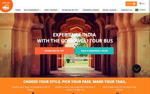 Screenshot of Home Page gomowgli.in - Experience India with the goMowgli Tour Bus - City Tours, Hop on Hop off Tours - captured Feb. 2, 2016