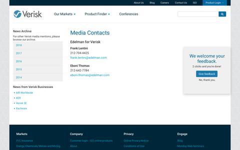 Screenshot of Press Page verisk.com - Media Contacts | Verisk Analytics - captured Jan. 3, 2019