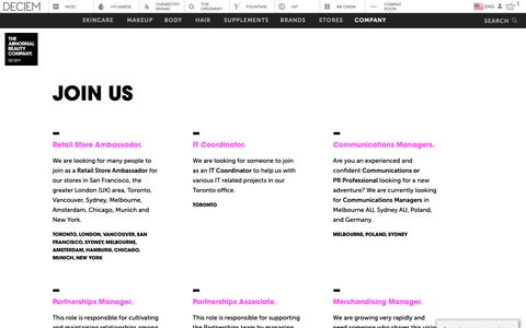 Screenshot of Jobs Page deciem.com - DECIEM | Join Us - captured March 22, 2019