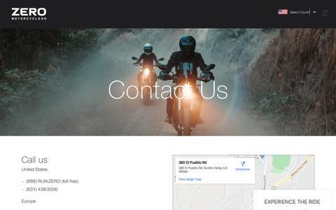 Screenshot of Contact Page zeromotorcycles.com - Contact Us    ZERO MOTORCYCLES - captured Feb. 24, 2020