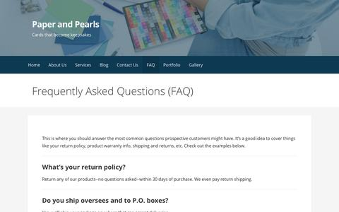 Screenshot of FAQ Page paperandpearls.com - Frequently Asked Questions (FAQ) – Paper and Pearls - captured July 14, 2017