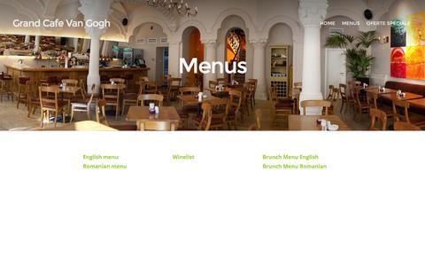 Screenshot of Menu Page vangogh.ro - Menus   Grand Cafe Van Gogh - captured Feb. 13, 2016