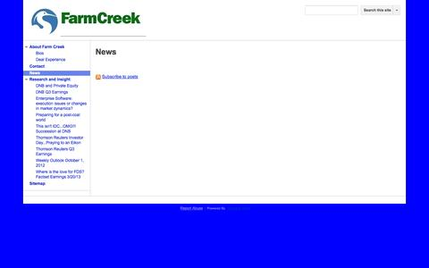 Screenshot of Press Page farmcreekadvisors.com - News - Farm Creek Advisors - captured Sept. 30, 2014