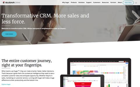 Screenshot of Home Page sugarcrm.com - Customer Relationship Management Software | SugarCRM - captured Feb. 7, 2017