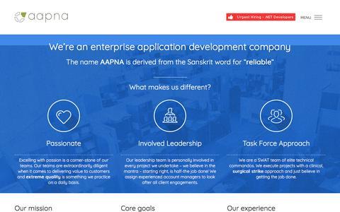 Screenshot of About Page aapnainfotech.com - Web Development Company - AAPNA Infotech - captured Oct. 6, 2017