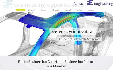Screenshot of Home Page femto-engineering.de - Femto Engineering - Home - captured Jan. 25, 2017