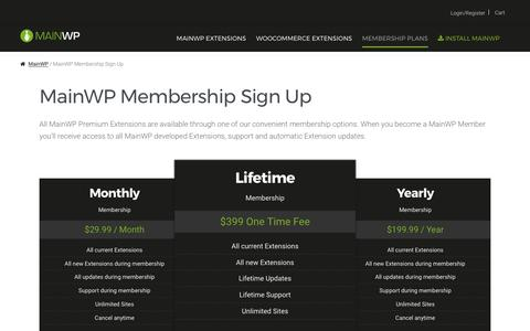 Screenshot of Signup Page mainwp.com - MainWP Membership Sign Up - MainWP WordPress Management - captured May 27, 2017