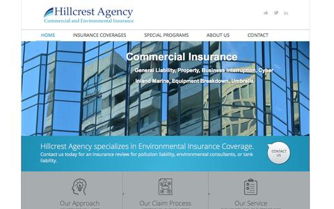 Screenshot of Home Page hillcrestagency.com - Environmental and Commercial Insurance CT - Hillcrest Agency - captured Oct. 8, 2014