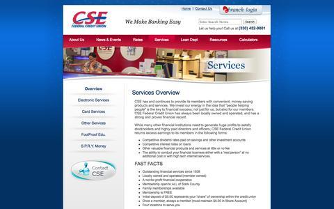 Screenshot of Services Page csefcu.com - CSE Federal Credit Union - Loan Dept, Auto Loans, Mortgage Loans - captured Oct. 30, 2014