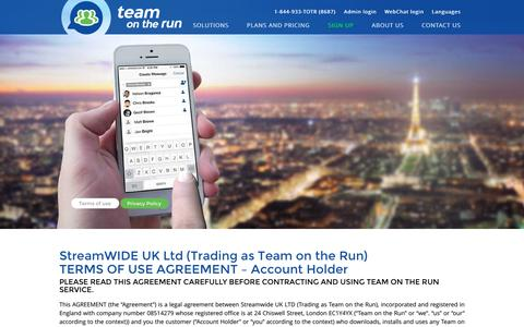 Screenshot of Terms Page teamontherun.com - Team on the Run Private Mobile Messenger | Terms Of Use - captured Dec. 21, 2016