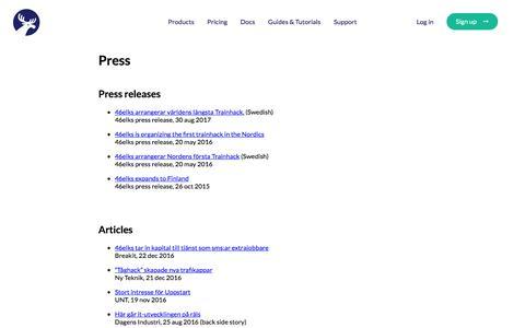 Screenshot of Press Page 46elks.com - 46elks - Press - captured July 28, 2018