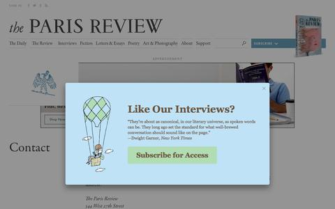 Screenshot of Contact Page theparisreview.org - Paris Review - Writers, Quotes, Biography, Interviews, Artists - captured Oct. 30, 2017