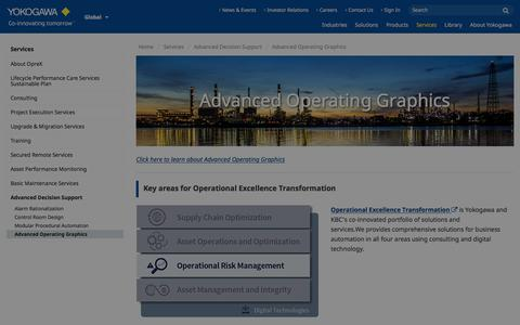 Screenshot of Support Page yokogawa.com - Advanced Operating Graphics | Yokogawa Electric Corporation - captured Nov. 9, 2019