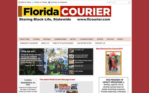 Screenshot of Home Page flcourier.com - Florida Courier | Sharing Black Life, Statewide - captured Jan. 26, 2016