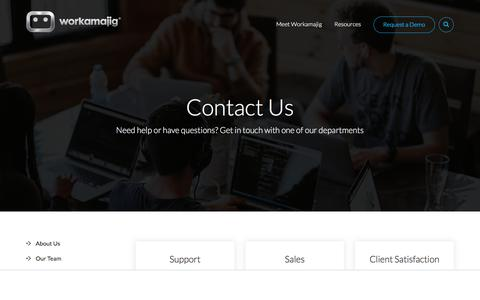 Screenshot of Contact Page workamajig.com - Contact Us - captured June 6, 2018