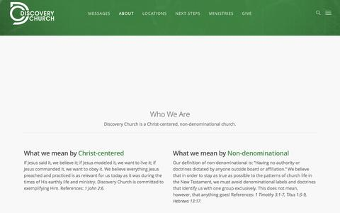 Screenshot of About Page discoverychurch.org - About | Discovery Church - captured Aug. 2, 2016