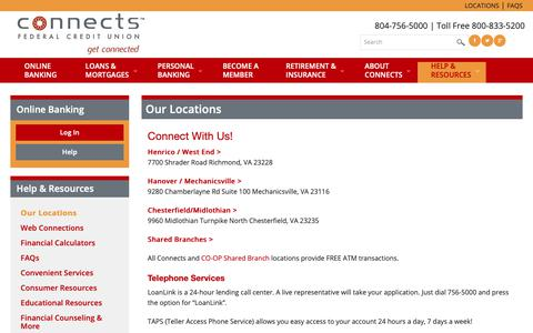 Screenshot of Locations Page connectsfcu.org - Connect With Us - Connects FCU - captured Nov. 27, 2018