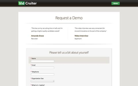 Screenshot of Signup Page vidcruiter.com - Sign up - Video Interviews - VidCruiter - captured Oct. 26, 2014