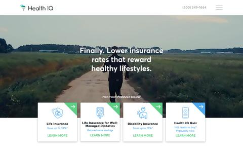 Screenshot of Home Page healthiq.com - Health IQ: Insurance for the Health Conscious - captured Nov. 20, 2018